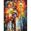 Поцелуй под дождем Раскраска картина по номерам акриловыми красками на картоне Белоснежка