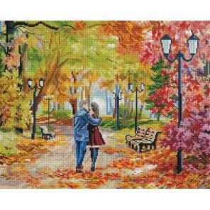 Осенний парк, скамейка, двое Алмазная вышивка мозаика на подрамнике Белоснежка