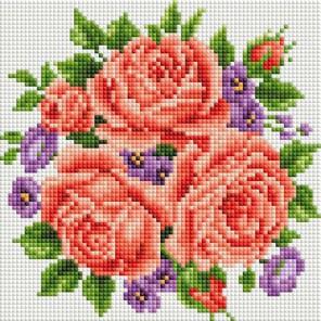 Розы и фиалки Алмазная вышивка мозаика на подрамнике Белоснежка