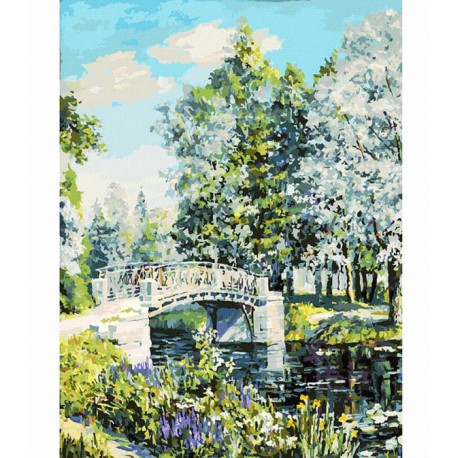 Мостик в парке Раскраска картина по номерам акриловыми красками на холсте Белоснежка