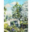 Мостик в парке Раскраска картина по номерам на холсте Белоснежка