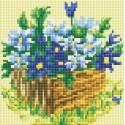 Васильки в саду Алмазная вышивка мозаика на подрамнике Белоснежка