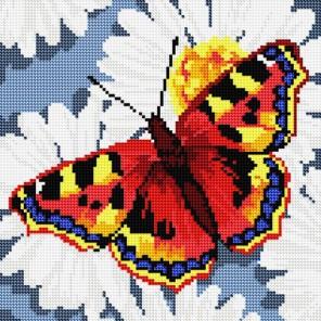 Бабочка на ромашках Алмазная вышивка мозаика на подрамнике Белоснежка
