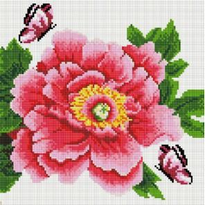 Розовый цветок и бабочки Алмазная вышивка мозаика на подрамнике Белоснежка