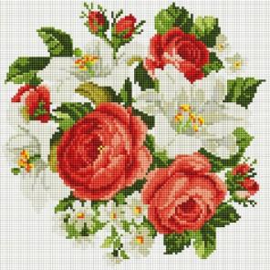 Розы и лилии Алмазная вышивка мозаика на подрамнике Белоснежка