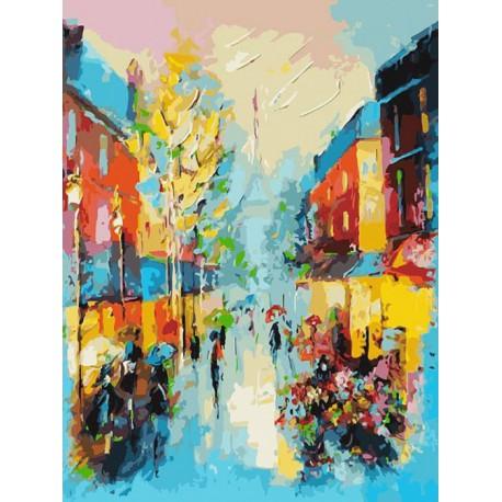 Улочки Парижа Раскраска картина по номерам акриловыми красками на холсте Белоснежка