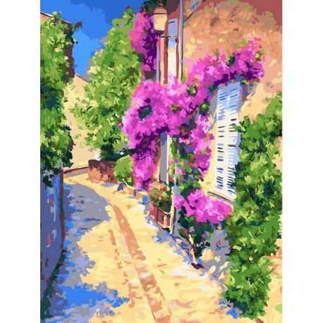 Тихая улочка Раскраска картина по номерам акриловыми красками на холсте Белоснежка