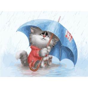 Кошарик под дождём Раскраска картина по номерам на холсте Белоснежка