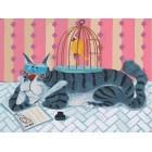 Кот и птичка Раскраска картина по номерам акриловыми красками на холсте Белоснежка