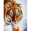 Тигр на снегу Раскраска картина по номерам на холсте Белоснежка