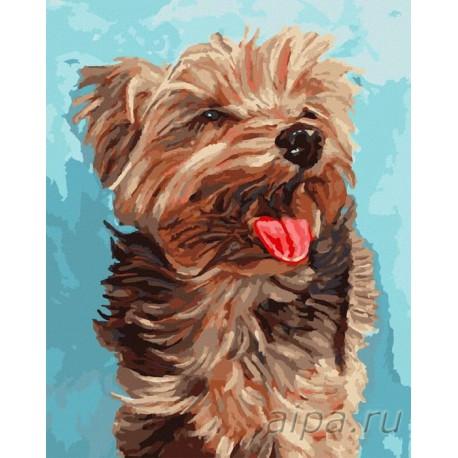 Собака Раскраска картина по номерам акриловыми красками на ...