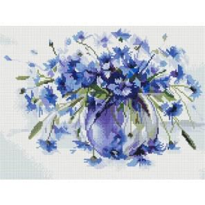 Василёчки-васильки Алмазная вышивка мозаика на подрамнике Белоснежка
