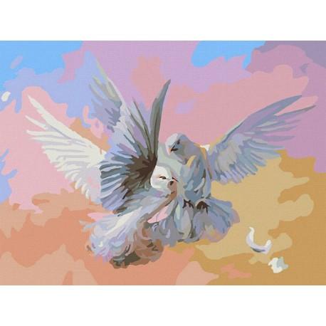 Полет белых голубей Раскраска картина по номерам ...