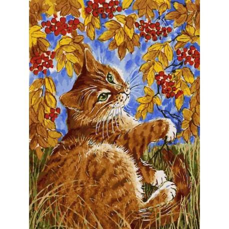 Кот с рябиной Раскраска картина по номерам акриловыми красками на холсте Белоснежка