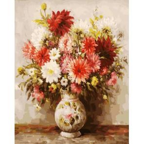 Георгины Раскраска картина по номерам акриловыми красками на холсте Белоснежка