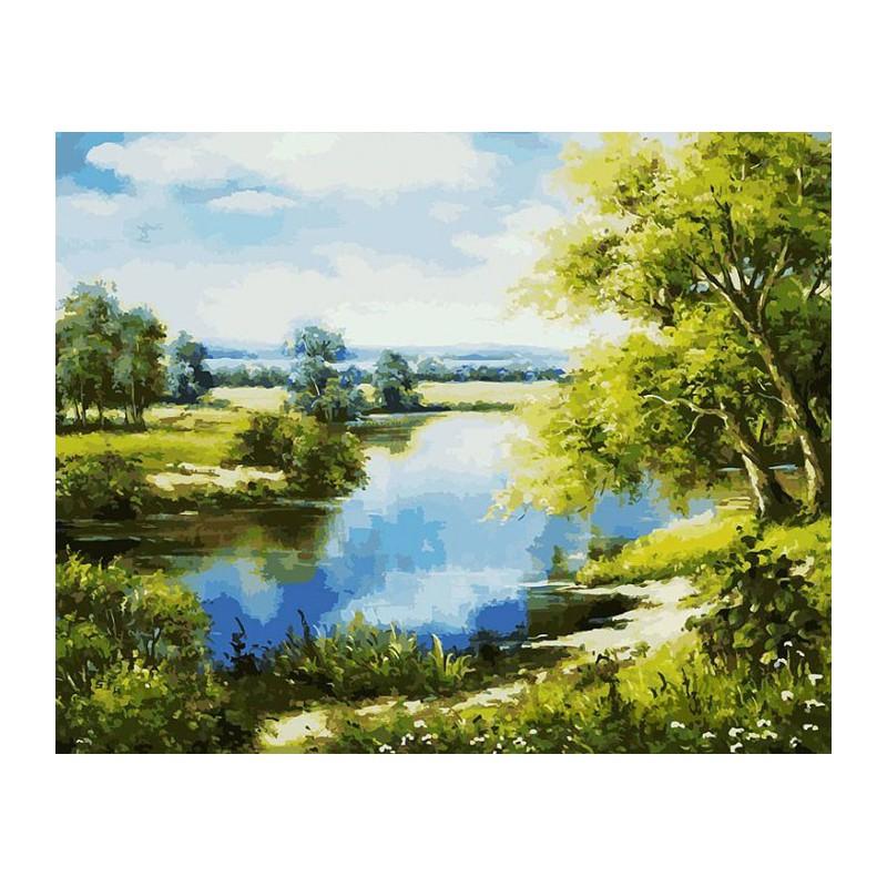 Лесное озеро Раскраска картина по номерам акриловыми ...