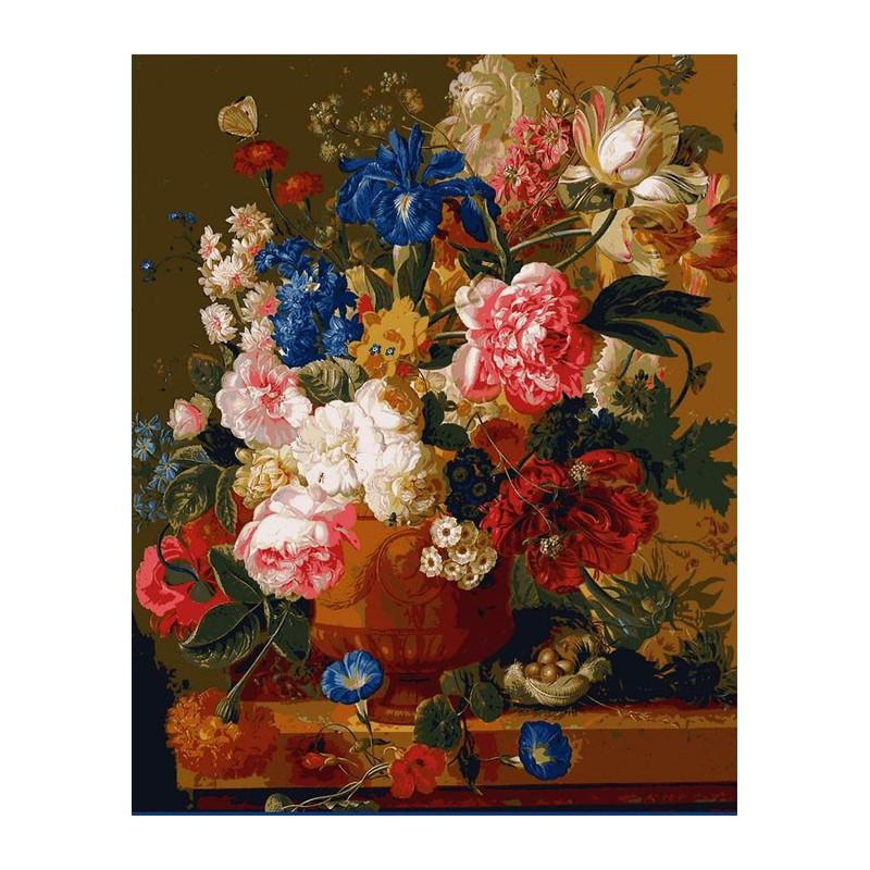 Цветы в вазе Раскраска картина по номерам акриловыми ...