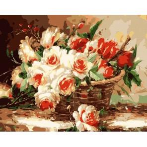Букет в корзине Раскраска по номерам акриловыми красками на холсте Menglei