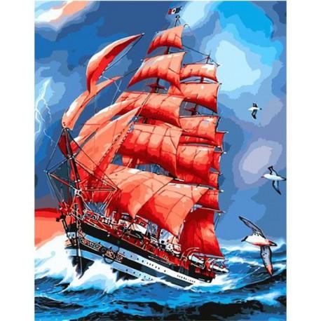 Алые паруса Раскраска картина по номерам акриловыми красками на холсте Molly