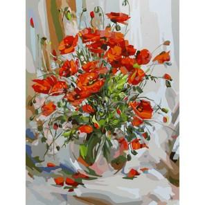 Букет маков Раскраска картина по номерам акриловыми красками на картоне Белоснежка