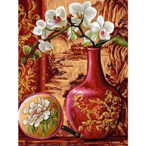 Ветка орхидеи в вазе Раскраска картина по номерам акриловыми красками на холсте Molly