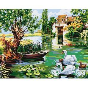 Деревенский пруд Раскраска картина по номерам на холсте Molly