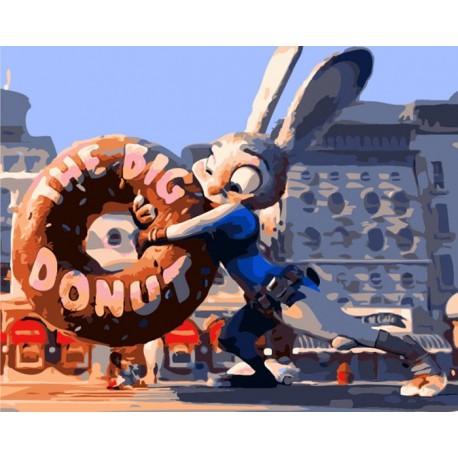 Джуди Хоппс из Зверополиса с пончиком Раскраска по номерам ...