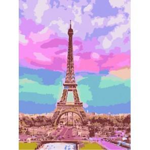 Эйфелева башня на закате Раскраска картина по номерам акриловыми красками на холсте Menglei