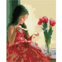 Девочка и букет Раскраска картина по номерам на холсте Menglei