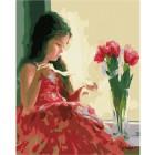 Девочка и букет Раскраска картина по номерам акриловыми красками на холсте Menglei