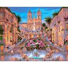 Вечерний фонтан Раскраска картина по номерам акриловыми красками на холсте Iteso