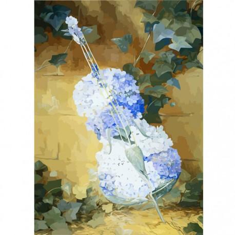 цветочная скрипка раскраска картина по номерам Color Kit Ak012