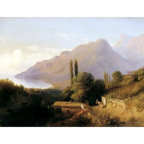 Крымский пейзаж ( Лагорио Л.Ф.) Раскраска картина по номерам на холсте Molly