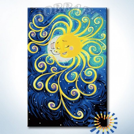 Солнце и Луна Раскраска картина по номерам акриловыми ...