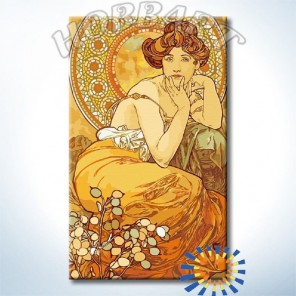 Топаз. Драгоценные камни (Альфонс Муха) Раскраска картина по номерам акриловыми красками на холсте Hobbart