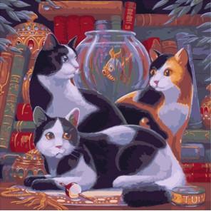 Три умные кошки Раскраска картина по номерам акриловыми красками на холсте Color Kit