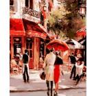 Пара у бистро Раскраска картина по номерам акриловыми красками на холсте Iteso | Картину по номерам купить