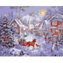 Рождественская улица Раскраска картина по номерам на холсте Iteso