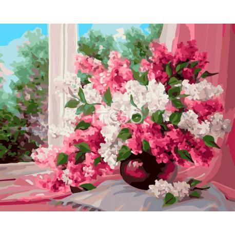 Сирень на окне Раскраска картина по номерам акриловыми красками на холсте Iteso | Картину по номерам купить
