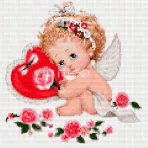 Ангел с сердечком Алмазная мозаика на твердой основе Iteso | Алмазная мозаика купить