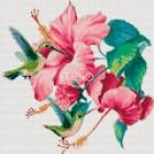 Колибри над цветком гибискуса Алмазная мозаика на твердой основе Iteso   Алмазная мозаика купить