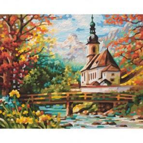 Церковь святого Себастьяна в Рамзау Раскраска по номерам акриловыми красками Schipper (Германия) | 9340729 Картина по номерам