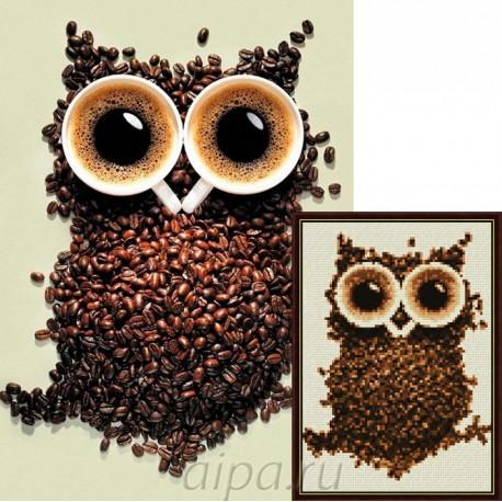 Кофейная сова Алмазная вышивка мозаика Гранни | Алмазная мозаика купить