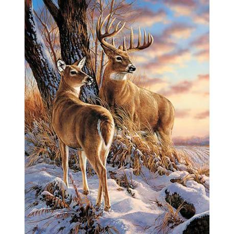 В зимнем лесу Алмазная мозаика вышивка Гранни | Алмазная мозаика купить