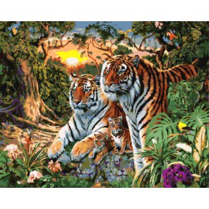 Семья тигров Раскраска картина по номерам акриловыми красками на холсте