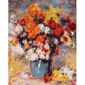 Ваза с хризантемами (репродукция, Пьер Огюст Ренуар) Раскраска картина по номерам акриловыми красками на холсте
