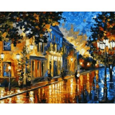 Вечерний бульвар Раскраска картина по номерам акриловыми красками на холсте | Картина по номерам купить