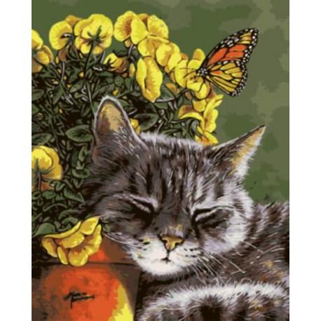 Спящий кот Раскраска картина по номерам акриловыми красками на холсте | Картина по номерам купить