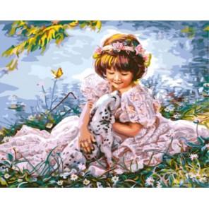 Девочка с далматинцем Раскраска картина по номерам акриловыми красками на холсте | Картина по номерам купить