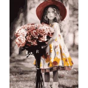 Девочка с букетом Кима Андерсона Раскраска картина по номерам акриловыми красками на холсте | Картина по цифрам купить